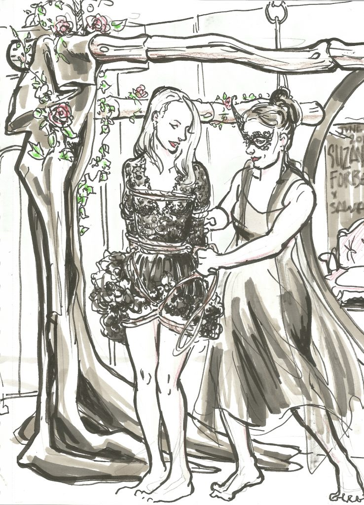 Sawa and Husalia at Berlin Poetry Brothel at Lotus Loft June 3 2019 by Suzanne Forbes