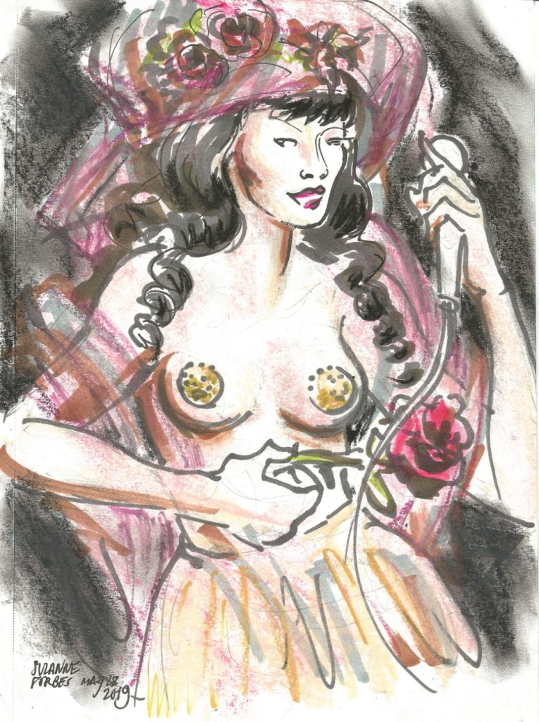 Viva Lamore with flowers at Full Moon Cabaret Berlin Burlesque Week May 28 2019 by Suzanne Forbes