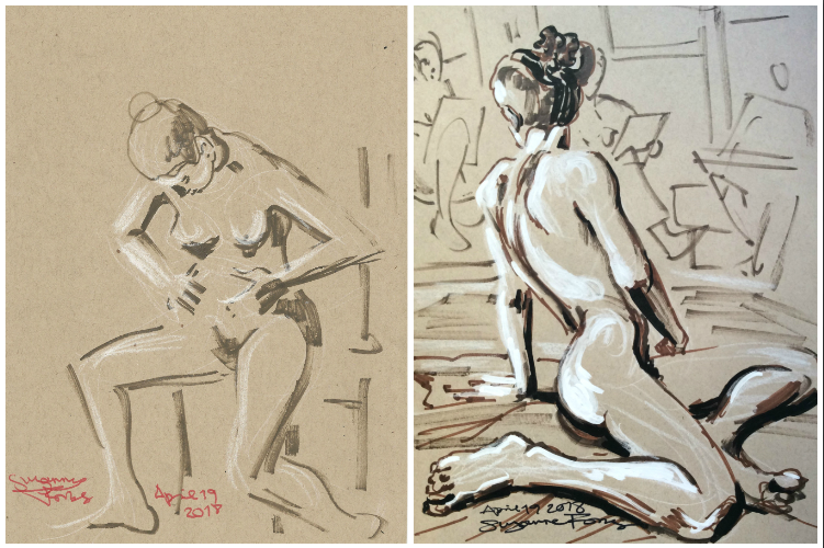 Life drawings by Suzanne Forbes April 19 2018