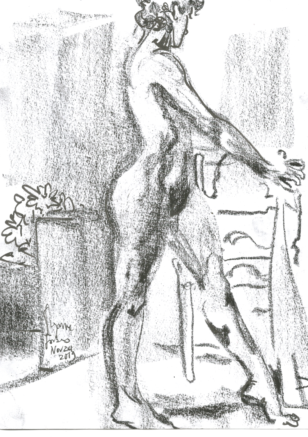 Liliana Velasquez 1 at Dr Sketchys Berlin Drink and Draw kunsthaus Nov 24 2019 by Suzanne Forbes