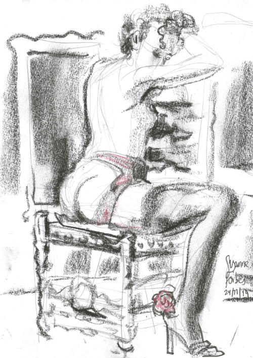 Liliana Velasquez cabaret Dr Sketchys Berlin Drink and Draw kunsthaus Nov 24 2019 by Suzanne Forbes