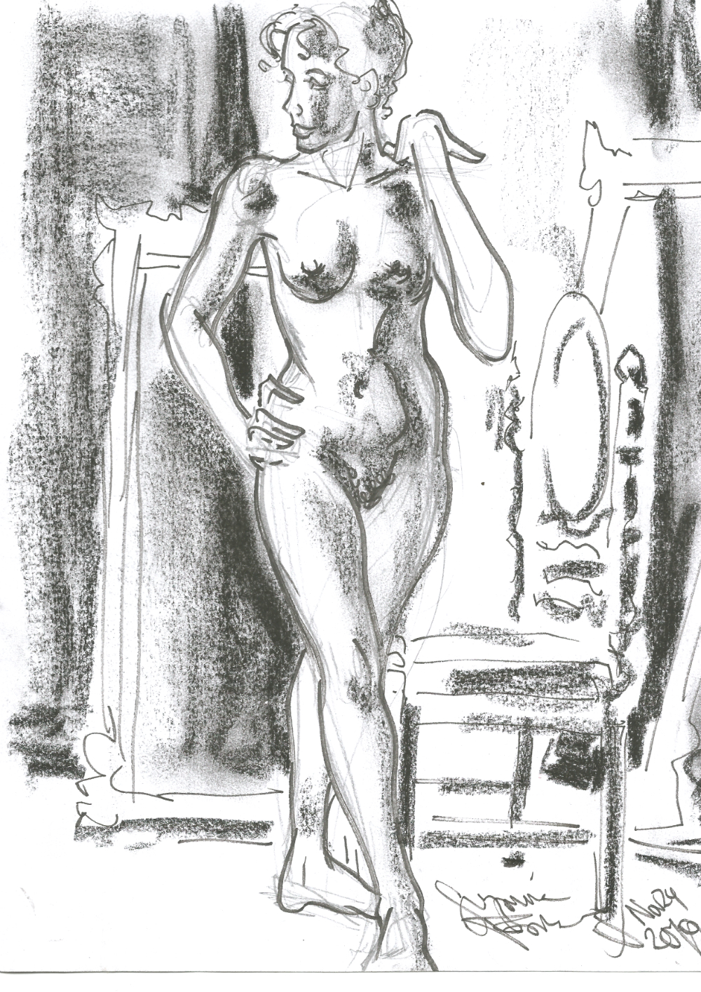 Liliana Velasquez nude at Dr Sketchys Berlin Drink and Draw kunsthaus Nov 24 2019 by Suzanne Forbes