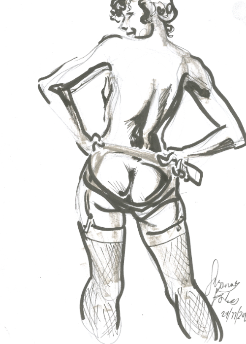 Liliana Velasquez garter at Dr Sketchys Berlin Drink and Draw kunsthaus Nov 24 2019 Suzanne Forbes