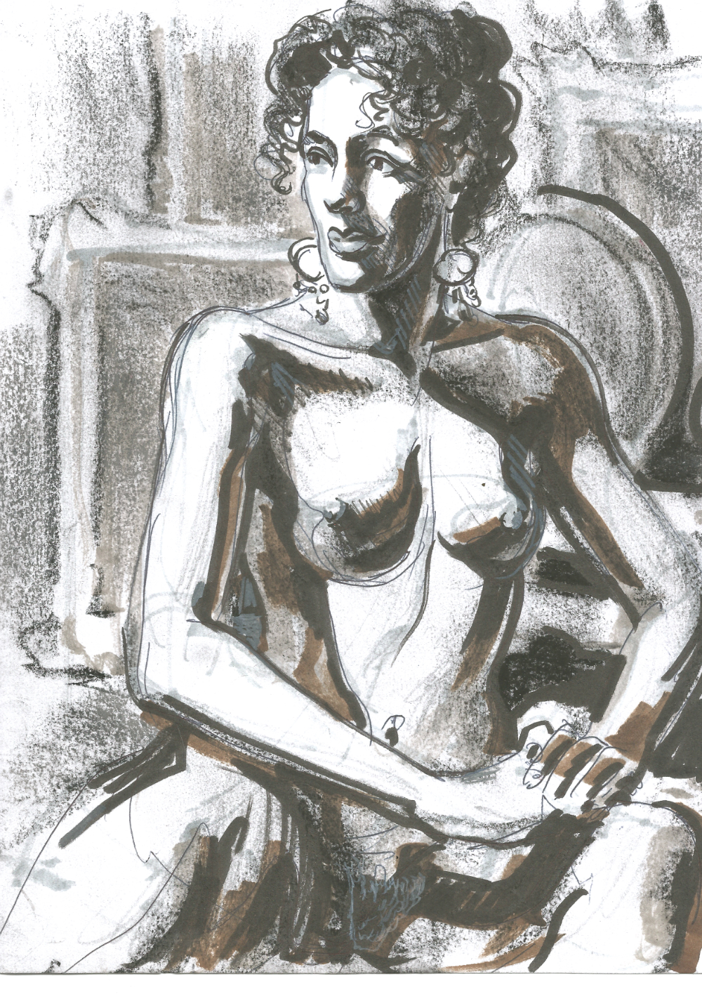 Liliana Velasquez seated at Dr Sketchys Berlin Drink n Draw kunsthaus Nov 24 2019 by Suzanne Forbes
