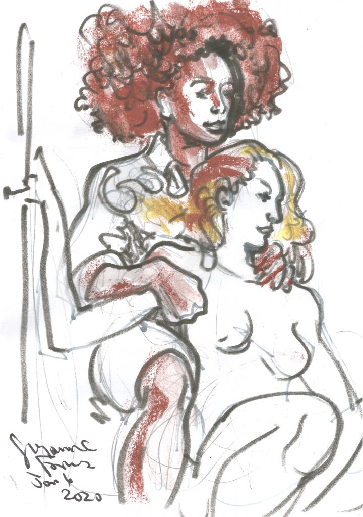 Maxine and Chloe at Berlin Stripper Collective Life Drawing Jan 6 2020 by Suzanne Forbes
