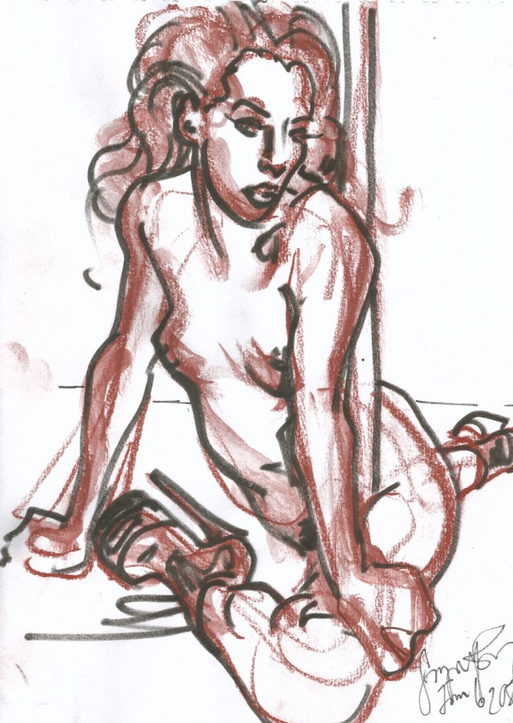 Maxine at Berlin Stripper Collective Life Drawing Jan 6 2020 by Suzanne Forbes 12