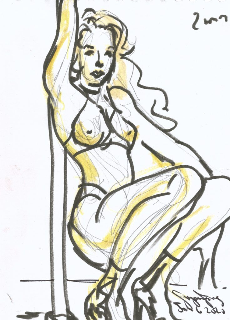 Maxine at Berlin Stripper Collective Life Drawing Jan 6 2020 by Suzanne Forbes 8