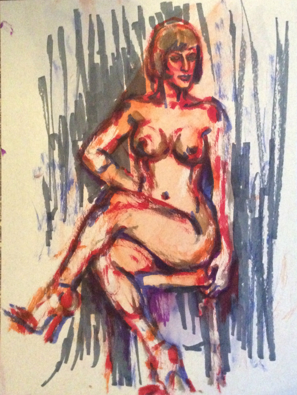Watercolor brush pen drawing of Chiqui Love nude crossed legs by Suzanne Forbes Jan 28 2020