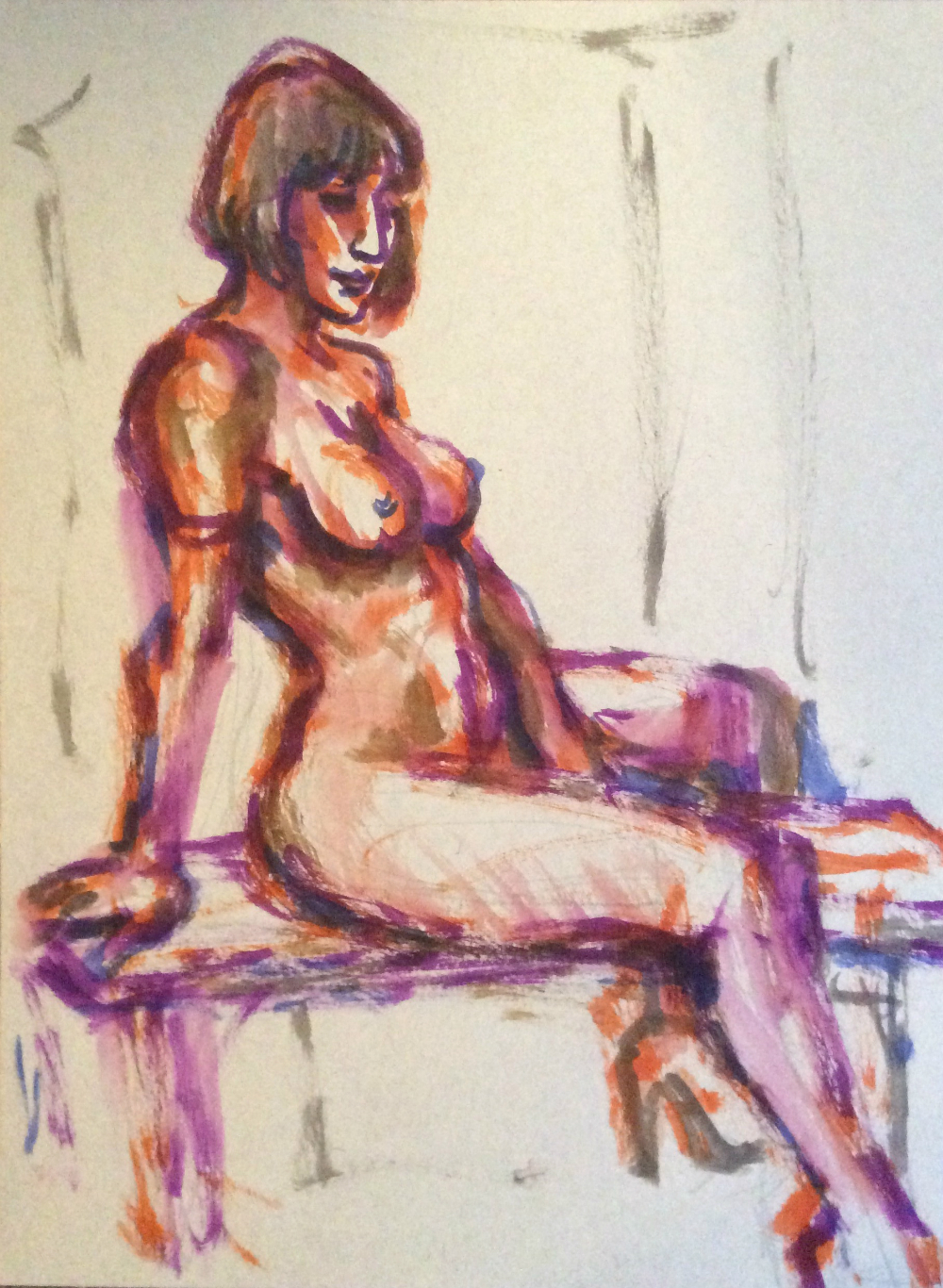 Watercolor brush pen drawing of Chiqui Love nude seated by Suzanne Forbes Jan 28 2020