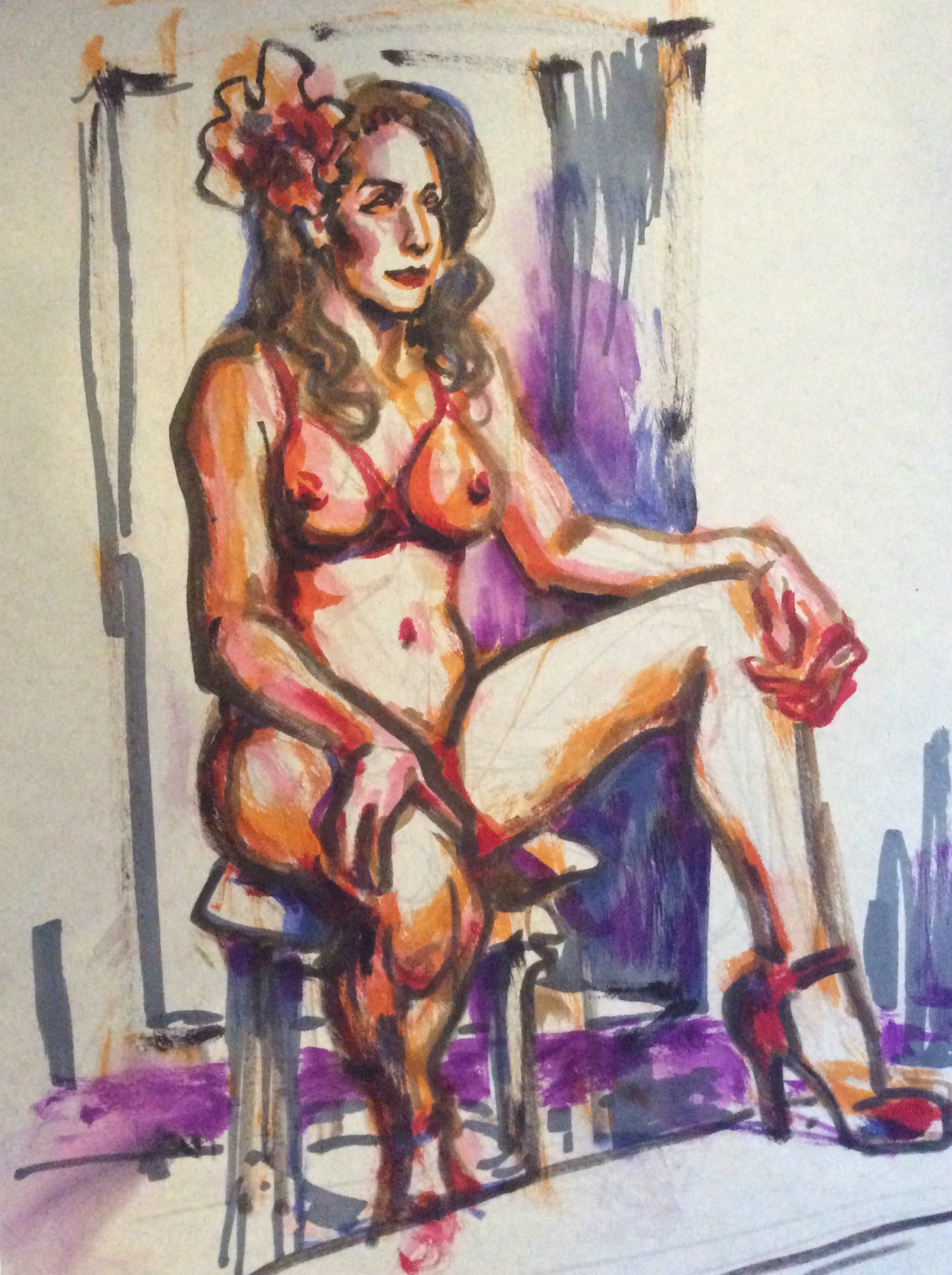 Watercolor brush pen drawing of Chiqui Love seated by Suzanne Forbes Jan 28 2020
