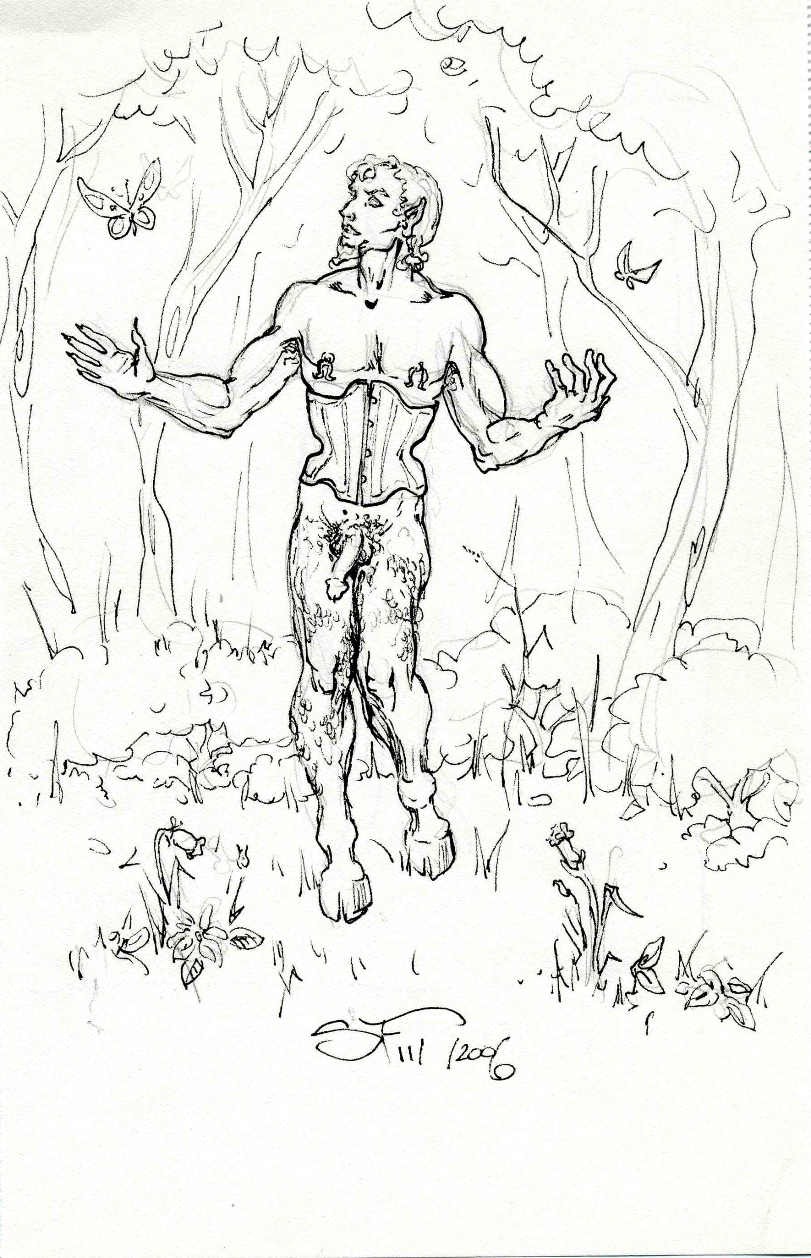 Naughty Faun with Butterfly 6x8 11 7 2006 by Suzanne Forbes