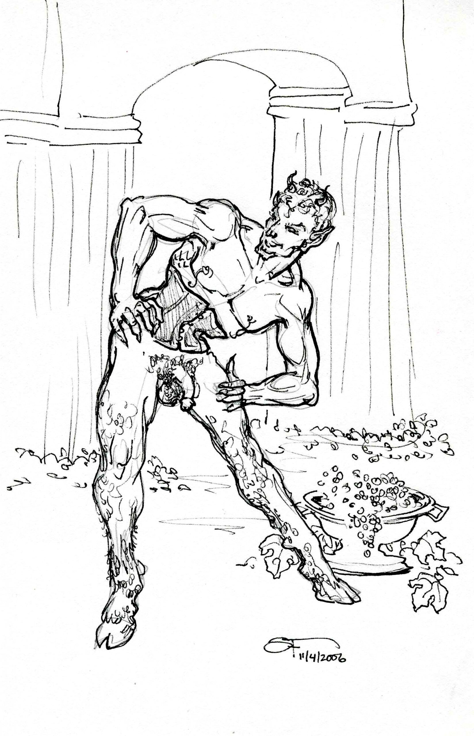 Naughty Faun with Cincher 6x8 11 7 2006 by Suzanne Forbes