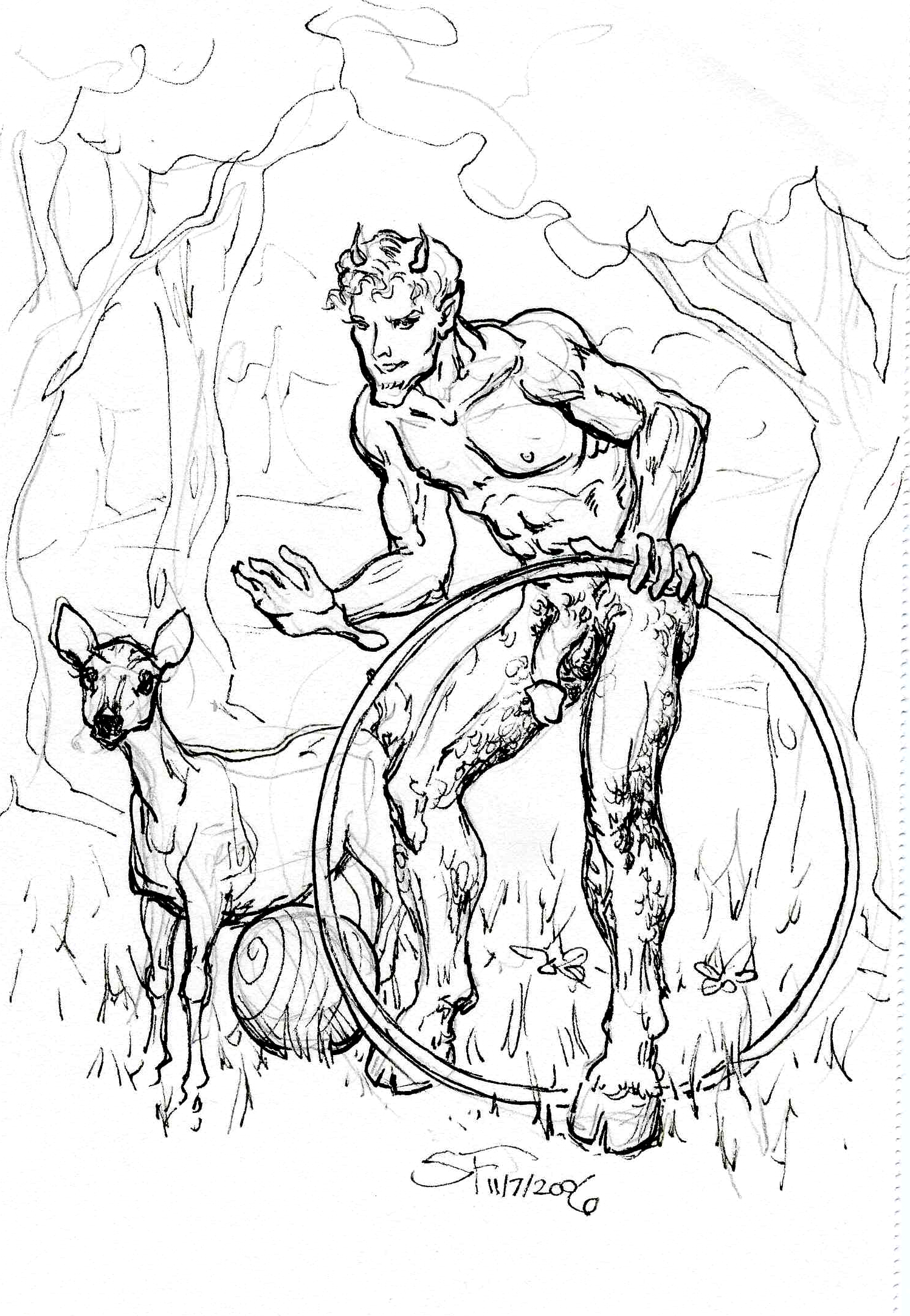 Naughty Faun with Deer 5x7 11 7 2006 by Suzanne Forbes