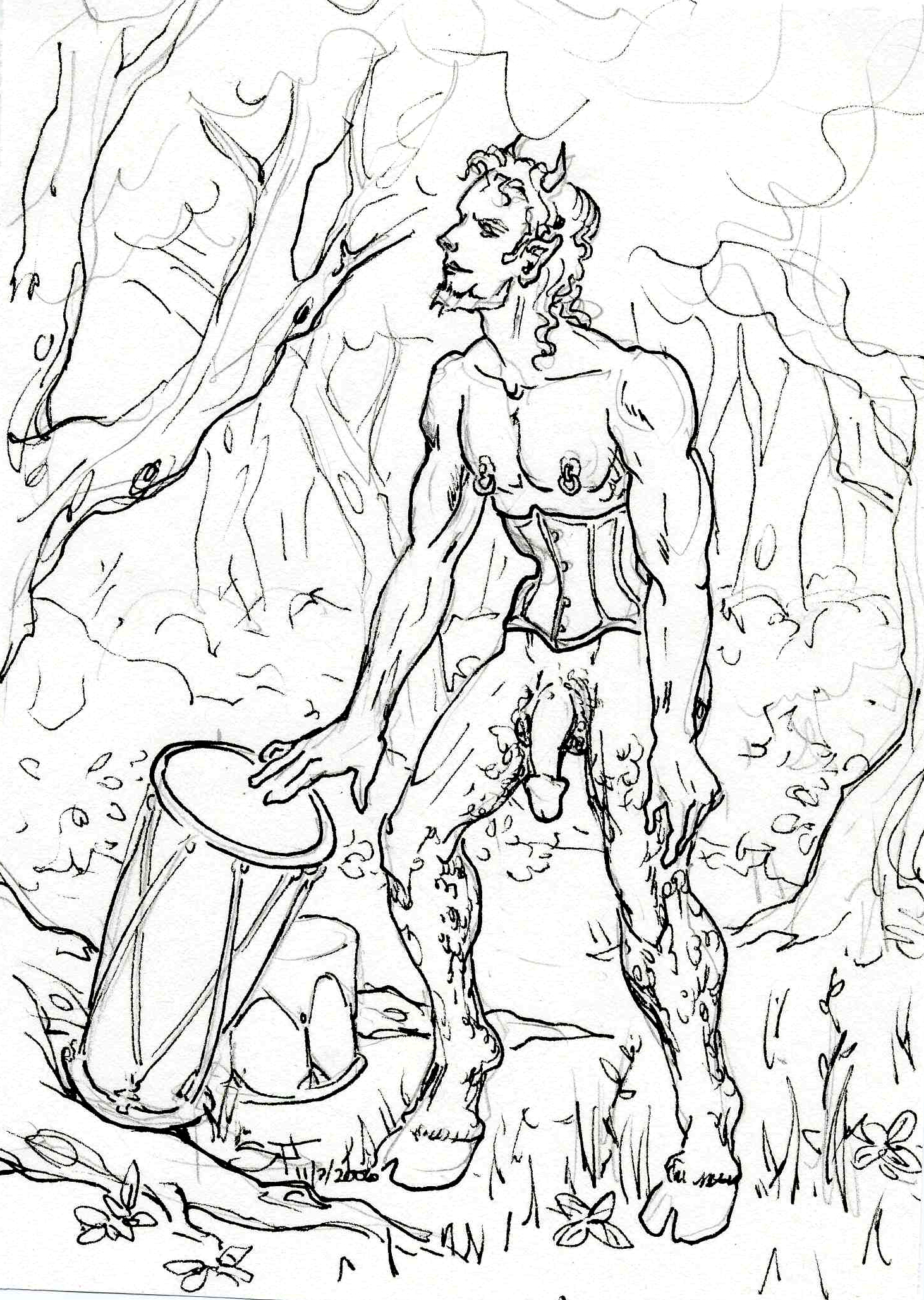 Naughty Faun with Drums 5x7 11 7 2006 by Suzanne Forbes