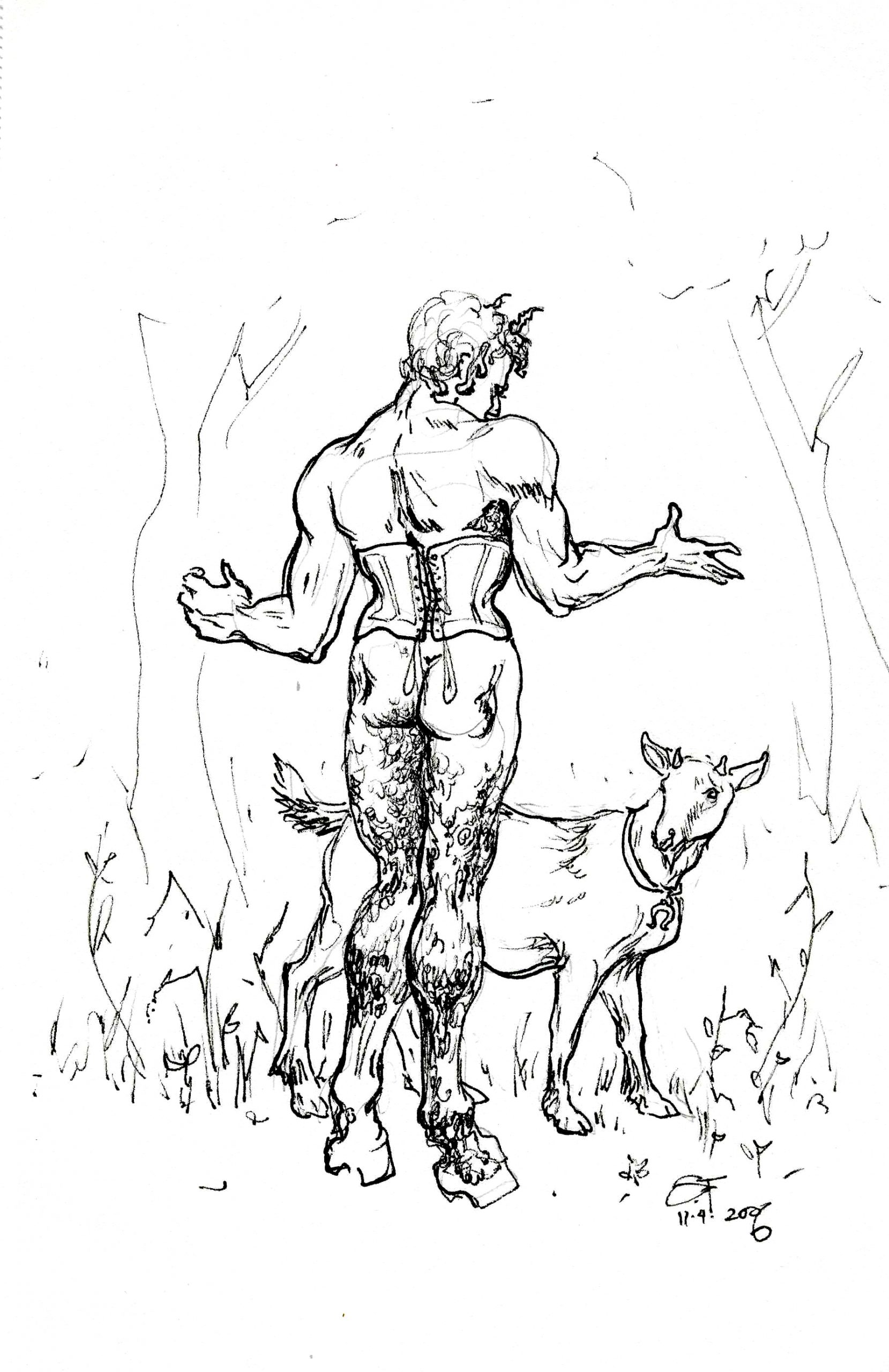 Naughty Faun with Goat 6x8 11 7 2006 by Suzanne Forbes