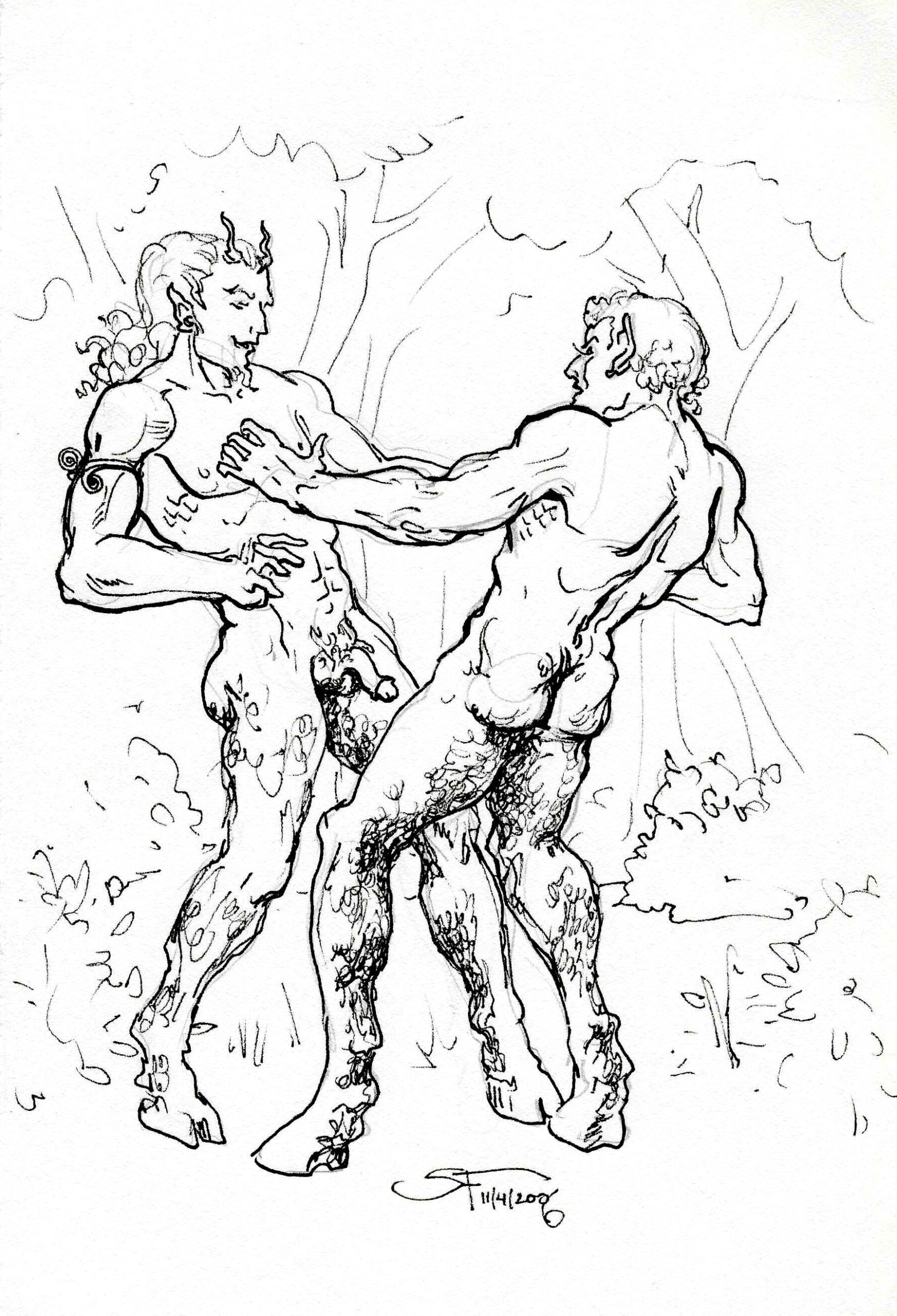 Naughty Fauns Frolicking 6x8 11 7 2006 by Suzanne Forbes